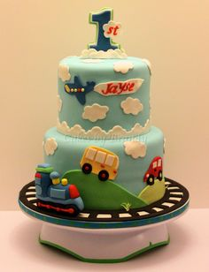 Trains, planes, and automobiles first birthday cake