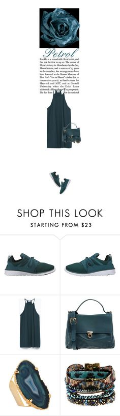 """""""Monochromatic: Petrol."""" by ylenia ❤ liked on Polyvore featuring DC Shoes, Zara, Valerie Nahmani Designs and Hipanema"""