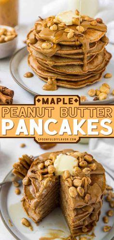 Peanut Butter Banana Oats, Peanut Butter Pancakes, Peanut Butter Breakfast, Peanut Butter Recipes, Savory Breakfast, Creamy Peanut Butter, Perfect Breakfast, School Breakfast, Sweet Breakfast