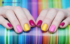 25 Adorable Nail Designs which are so glamorous that it talks for themselves Manicure And Pedicure, Gel Nails, Acrylic Nails, Nail Polish, Fancy Nails, Love Nails, Pretty Nails, Nail Color Combinations, Rainbow Nails