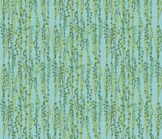 klimt_vines_on_blue fabric by glimmericks on Spoonflower - custom fabric