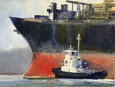 """'MATENGA BRINGS THEM HOME ' Ross Whitlock oil on panel 8x9   Ross comments """"I've always loved tugboats solid chunky not fast but with enormous power. They spend their lives doing good. One of the joys of living and painting in Nelson is its busy port. I love watching the tugs bringing these huge vessels safely into harbour. Not for nothing is it known as 'Nelson  Haven'"""