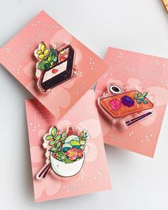 shared by Kookiee on We Heart It Diy Kawaii, Bag Pins, Jacket Pins, Acrylic Charms, Stickers, Pin And Patches, Cool Pins, Metal Pins, Maker