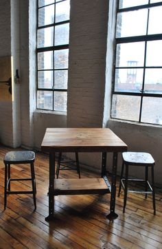 Qty 4 Industrial reclaimed wood Island and Bar Table with pipe legs or machine age base 33 x 33 x adjustable hieght. 1,840 dollars, via Etsy.