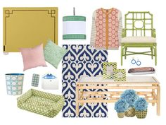 Preppy, geometric prints are more popular than ever in home decor and accessories. While one could say that lattice, trellis, and fretwork-like prints are making a serious entrance as a fall trend, in reality, this timeless aesthetic has been kicking around for decades, Jonathan Adler, Trina Turk and many more designers are adopting it for their own upcoming collections. From graphic rugs to cheerful light fixtures, shown are some fun products in preppy prints