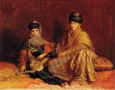 Femme et fillette de Constantine avec une gazelle - Theodore Chasseriau