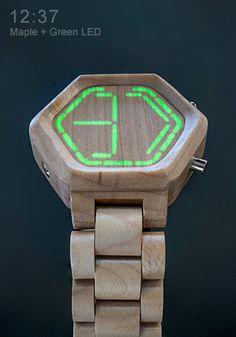 wood LED watch