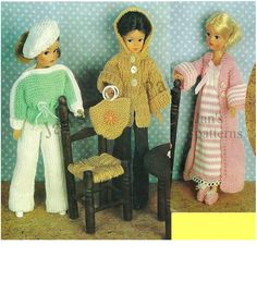 Sindy Barbie Fashion Dolls Clothes 3 outfits knitting pattern PDF