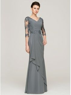 A-Line/Princess V-neck Floor-Length Beading Appliques Lace Sequins Cascading Ruffles Zipper Up Sleeves 3/4 Sleeves No 2015 Other Colors Spring Summer Fall General Plus Chiffon Mother of the Bride Dress
