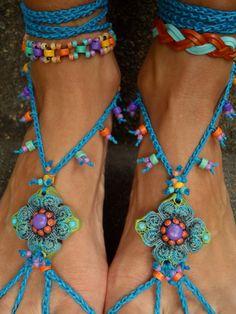 Blue HIPPIE BAREFOOT SANDALS crochet sandals beaded by GPyoga