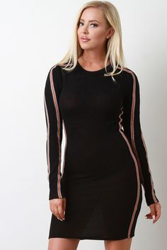 This bodycon dress features a sparkly metallic tinsel knit fabrication, stretchy sculpture fit, round neckline, long sleeves, and sporty double ribbon side stripes. Accessory sold separately. Made in U.S.A. 85% Nylon, 10% Metallic, 5% Spandex. Measurement Size Bust Waist Hip Length Sleeve S 28 24 29 34 24 M 30 26 31 34.5 24.5 L 32 28 33 35 25 Jean Overalls, Mini Dresses, Bodycon Dress, Stripes, Sporty, Knitting, Long Sleeve, Fabric, Clothes