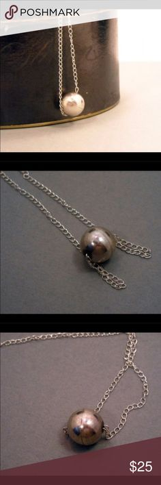 """Spherical Sterling silver necklace. Measures 18"""" long.  Sterling silver ball floats on the chain.  Very modern piece. Jewelry Necklaces"""