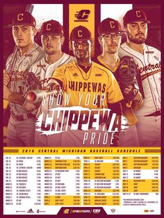 See all the latest and greatest college athletics posters and graphic design work! Sports Baseball, Baseball Cards, At Rt, Mlb Wallpaper, Central Michigan, Sports Graphic Design, Schedule, Athlete, Posters