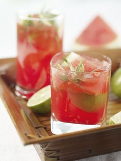 Watermelon Caipirinha    1 lime  5 quarter-sized slices ginger  2 tsp sugar  6 chopped mint leaves (or try fresh tarragon)  2 oz watermelon purée  2 oz cachaça (or vodka or rum)  1 oz grenadine    Muddle lime, ginger, sugar and mint and transfer to a martini shaker. Add watermelon purée, grenadine, cachaça and ice. Shake. Pour into a glass and serve.    Makes one cocktail