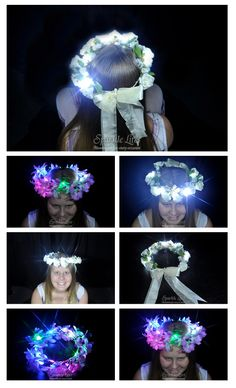 Sparkle Ribbon wound around floral headpieces. Perfect for anything from an evening wedding, to a fun luau party.