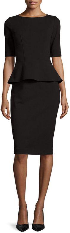 Lafayette 148 New York Half-Sleeve Peplum Dress