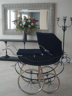 Royale Vintage Stroller Navy Blue Antique Silver Cross Pram vintage   #Royale