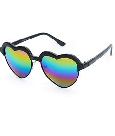 9cadd92c80 These retro style sunglasses feature metal heart shaped frames with a matte  black plastic wrapped upper