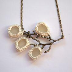 Sea glass necklace bride jewelry ivory cream crochet seaglass bronze tree branch…