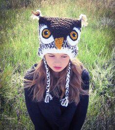 Sombrero del ganchillo traje blanco buho del por LadyLorienDesigns