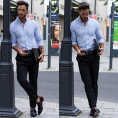 This pairing of a light blue chambray dress shirt and black chinos looks dapper, but it's also extremely easy to imitate. Up the style ante of your ensemble by finishing with a pair of black leather double monks. Outfit Hombre Formal, Blue Shirt Outfit Men, Blue Shirt Black Pants, Stylish Men, Men Casual, Black Chinos, Men With Street Style, Light Blue Shirts, Classy Men