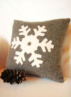 Gray Christmas pillow,Christmas Snowflakes pillow