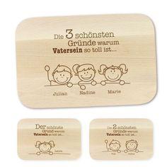 Mit diesem Frühstücksbrett mit Namen zum Vatertag wird Dein Papa bei jedem Gebrauch voller Liebe an seine Kinder denken. via: www.monsterzeug.de