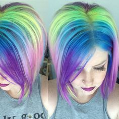Short rainbow hair! Pravana locked in hair color