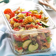 Deli-Style Pasta Salad Recipe -Pasta provides a base for this tongue-tingling make-ahead salad. It has lots of fresh and satisfying ingredients topped with a flavorful dressing. It's terrific to serve to company or take to a potluck. — Joyce McLennan, Algonac, Michigan