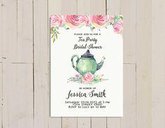 tea party Bridal Shower Invitations pink tea by HappyPartyStudio