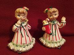 "Vintage Norcrest ""Twins on Christmas Morning"" Ceramic Figurines | eBay"
