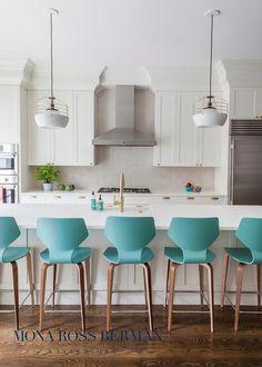 Turquoise blue island stools