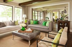 Chesterfield sofa interior design living room transitional with decorative pillows new construction palm leaf