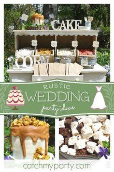 Take a look at this gorgeous rustic wedding! The popcorn bar is fantastic! Wedding Popcorn Bar, Popcorn Theme, Wedding Cake Rustic, Wedding Cakes, Wedding Decor, Wedding Ideas, Happy 60th Birthday, Garden Cakes, Birthday Background