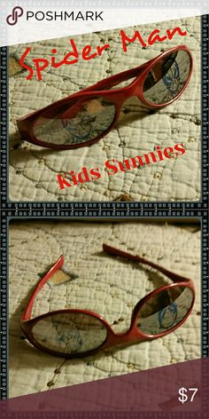 2003 Marvel Edition Sunglasses Cute Spider-Man sunglasses. Red plastic frames with gray tinted lenses that have mirrored hologram. Great used condition with no scratches. Marvel Accessories Sunglasses