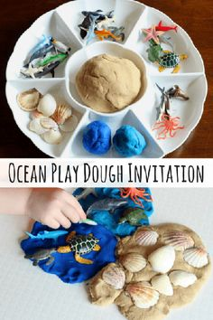 Ocean Play Dough Invitation This hands-on preschool science activity is a fun way to learn about the ocean habitat while engaging in a sensory experience! Includes a recipe for sand play dough. Preschool Science Activities, Preschool Activities, Beach Theme Preschool, Family Activities, Health Activities, Motor Activities, Preschool Social Studies, Science Area, Vocabulary Activities