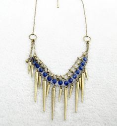 Spike Drop Necklace With Bead Detailing
