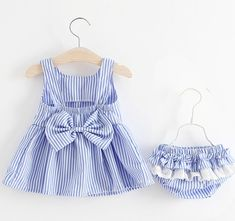 47227176 #Baby Girls #Newborn #Dress #Clothes New Cute Bowknot Striated Sleeveless # Girl