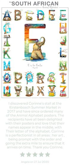 The perfect, personalised gift! 🌿 This original, one-of-a-kind South African Animal Alphabet was lovingly created to celebrate the diversity and uniqueness of South Africa's incredibly special wildlife. The quirky, intricate detail and feel-good spirit of each letter is sure to captivate both young and young-at-heart! 🦏 #animalalphabet #babyshower #babynurserydecor www.thehappystrugglingartist.co.za Alphabet For Kids, Animal Alphabet, Good Spirits, Baboon, Young At Heart, Hyena, Baby Nursery Decor, African Animals, Diversity