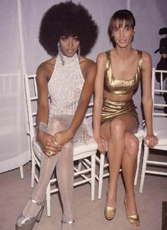 "80s-90s-supermodels: ""Naomi Campbell and Christy Turlington, early 90s "" these outfits……"