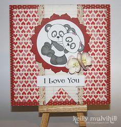 Valentines Love card Pandas