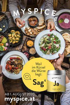 """""""SAG JA"""" ZU UNSEREN WÜRZIGEN KÜRZELN ... Die MYSPICE Gewürzdose besticht nicht nur durch sein prägnantes Design mit seinen Kürzeln, sie bringt die zu den Ursprüngen aller Geschmacksrichtungen aus aller Welt. Hol sie dir auch in deine Küche. Erhältlich im Onlineshop ab 1. August 2020 - myspice.at. Sag Ja, Curry, Paella, Ethnic Recipes, Food, Design, World, Food Food, Curries"""