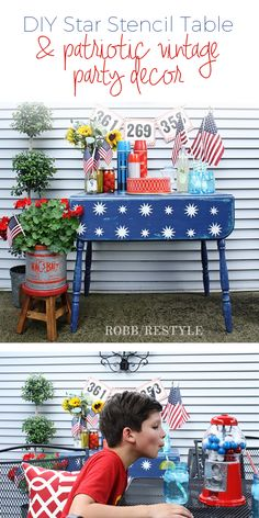 DIY Star Table with Patriotic Vintage Party Decor for Memorial Day and July 4th celebration ideas