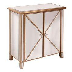 HomeFare Homefare Gold Mirror Accent Chest - The Home Depot Find Furniture, Cabinet Furniture, Accent Furniture, Accent Chest, Beveled Mirror, Mirror Door, Door Design, Adjustable Shelving, Polished Nickel