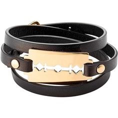 McQ Alexander McQueen Leather Bracelet ($80) ❤ liked on Polyvore featuring jewelry, bracelets, black, leather bracelet, genuine leather bracelet, black jewelry, black bangles and leather jewelry