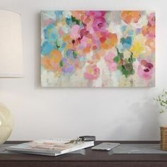 New Colorful Garden I Painting Print on Wrapped Canvas by East Urban Home Wall Art Decor. offers on top store Sun Painting, Painting Prints, Canvas Prints, Art Prints, Paintings, Pink Canvas Art, Green Wall Art, Contemporary Wall Art, Modern Wall