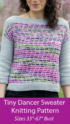 """Knitting Pattern for Tiny Dancer Sweater - Pullover designed to help you use up a skein or two of variegated sock yarn, knit with slipped stitch colorwork so you only ever use 1 color on any row, and slip a stitch here and there to make it look like stranded colorwork. Sizes: Finished Bust Measurements: 33 ½(36 ½, 38 ¾, 42 ½, 45 ¼, 48, 51 ¼, 54 ¾, 57 ¼, 60, 62 ¾, 66 ¾)"""". Fingering weight yarn. Designed by Mary Annarella. Sweater Knitting Patterns, Knitting Yarn, Knit Patterns, Free Knitting, Poncho Sweater With Sleeves, Zig Zag Dress, Pullover Designs, Dk Weight Yarn, Moss Stitch"""