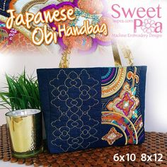 Japanese Obi tote bag 6x10 8x12 in the hoop machine embroidery design