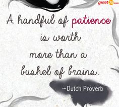 A Handful Of Patience Is Worth More Than A Bushel Of Brains.
