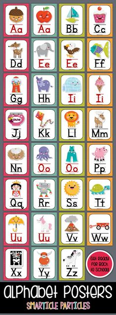 Fun set of alphabet posters with cute Kawaii style graphics. Perfect for any early childhood classroom! Classroom Rules, Preschool Classroom, Preschool Learning, Classroom Themes, Preschool Activities, Teaching, Alphabet Charts, Alphabet Posters, Special Education Activities